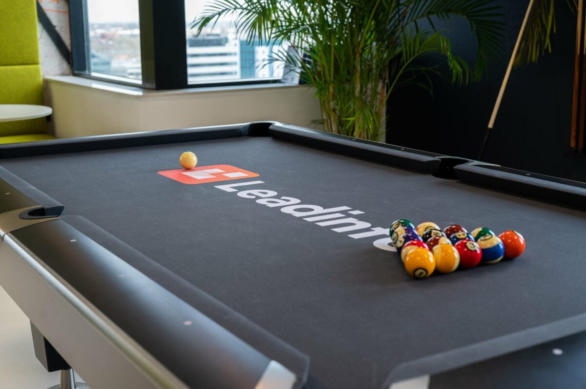 View of the Leadinfo pool table before a match begins